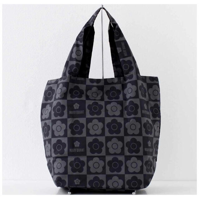 MARY QUANT(マリークワント)のMARY QUANT マリークヮント エコバッグ 黒 ブラック 花柄 デイジー レディースのバッグ(エコバッグ)の商品写真