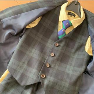 グリーンレーベルリラクシング(green label relaxing)のスーツ ベスト チョッキ 入学式 卒園式 子供スーツ チェック 緑 グリーン(ドレス/フォーマル)