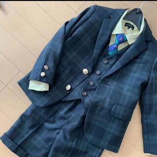 グリーンレーベルリラクシング(green label relaxing)のスーツ 入学式 卒園式 結婚式 ズボン 子供スーツ チェック 緑 グリーン(ドレス/フォーマル)