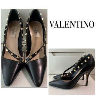 VALENTINO - VALENTINO ブラックレザー スタッズ パンプス