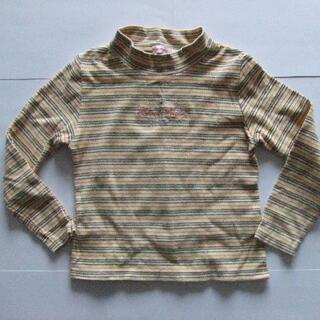 130 冬物 長袖 Tシャツ 黄色 ボーダー 女の子 (Tシャツ/カットソー)