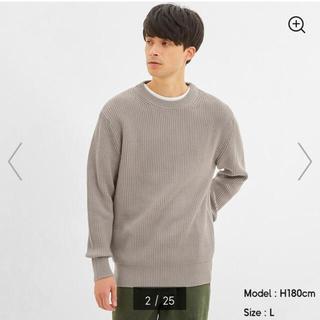 GU - ★gu ウォッシャブルコットンアゼクルーネックセーター