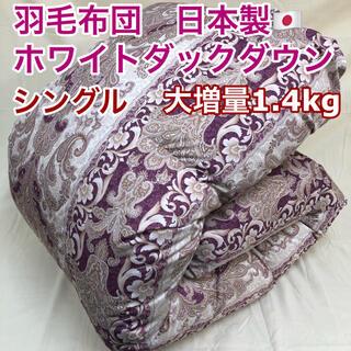 羽毛布団 シングル 大増量 ニューゴールド 日本製 4700ワインレッド
