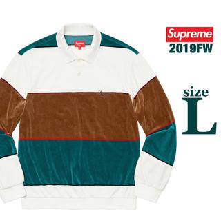 Supreme - supreme Stripe Velour L/S Polo White / L
