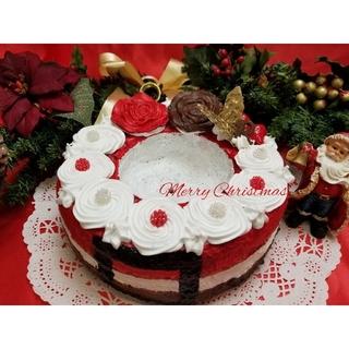 SOLD「サンタさんのケーキ」モルタルケーキ鉢(プランター)