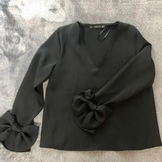 ZARA - ZARABASIC リボン袖黒ブラウス