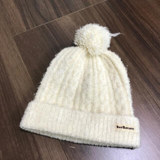 ホットビスケッツ(HOT BISCUITS)のミキハウス ホットビスケッツ ニット帽 ホワイト 42〜48cm(帽子)