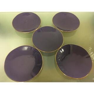 未使用品  庫山窯  紫 小皿 5枚セット 銘々皿 お茶菓子