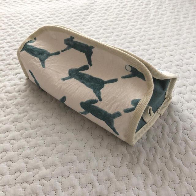 ⚮̈ミナペルホネン runrunrun ホワイト×ブルー BOXティッシュケース ハンドメイドのインテリア/家具(インテリア雑貨)の商品写真