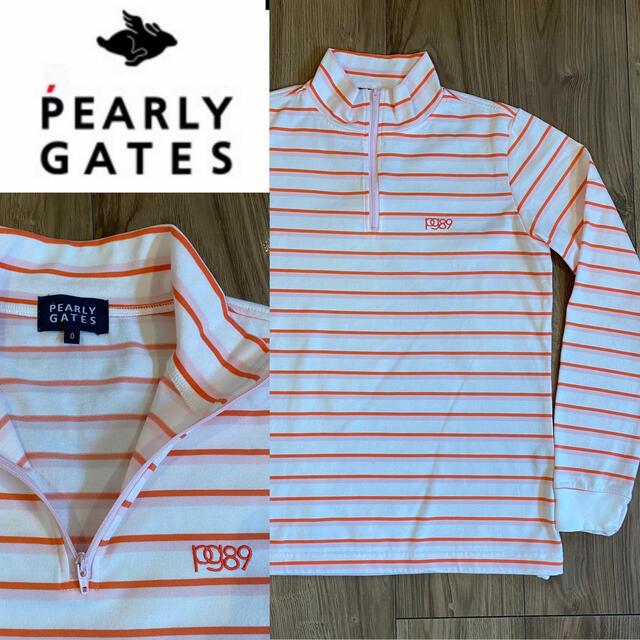 PEARLY GATES(パーリーゲイツ)のPEARLY GATES パーリーゲイツ ボーダー ハーフジップ スポーツ/アウトドアのゴルフ(ウエア)の商品写真