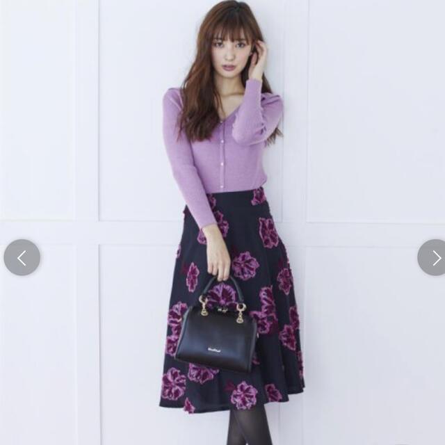 MISCH MASCH(ミッシュマッシュ)のミッシュマッシュ 花柄ジャガードフレアスカート レディースのスカート(ひざ丈スカート)の商品写真