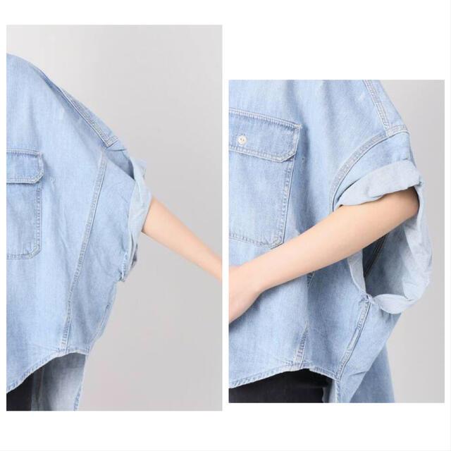 L'Appartement DEUXIEME CLASSE(アパルトモンドゥーズィエムクラス)のアパルトモン R13 Oversize S/S シャツ (DENIM) 一度着 レディースのトップス(シャツ/ブラウス(半袖/袖なし))の商品写真