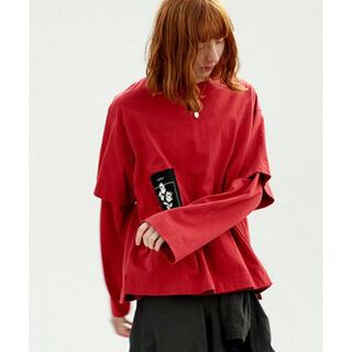ジエダ(Jieda)のJieDa PATCH BIG T-SHIRT RED(Tシャツ/カットソー(半袖/袖なし))