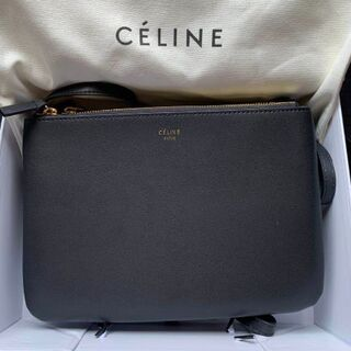 celine - CELINE ショルダーバッグ セリーヌ トリオバッグ ラージ ブラック