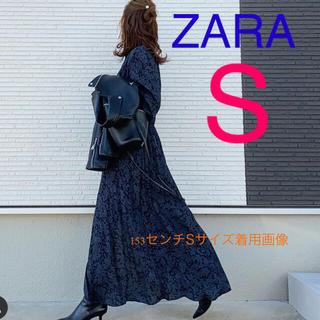 ザラ(ZARA)のZARA プリント柄ワンピース S  ZARAワンピース(ロングワンピース/マキシワンピース)
