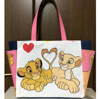 ライオンキング♡ビンテージシーツ/サイドポケット付きトートバッグ♡ハンドメイド