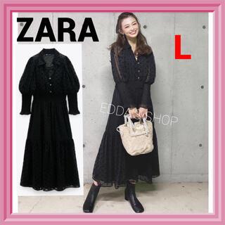 ZARA - 完売品 ZARA スイスドット柄ミディ丈ワンピース レース 水玉 黒  p
