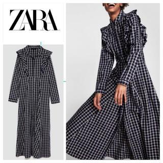 ZARA - ZARA WOMAN チェック フリル シャツ ワンピ Aライン ドレス