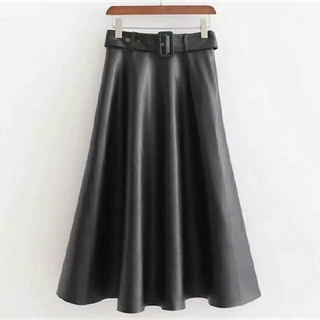 ZARA - ★即納★ フェイクレザー PU ベルト付き スカート