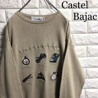カステルバジャック(CASTELBAJAC)のカステルバジャック イタリア製 ニット セーター 刺繍ロゴ Mサイズ相当(ニット/セーター)