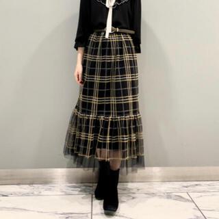 GRACE CONTINENTAL - グレースコンチネンタル チェック刺繍チュールスカート
