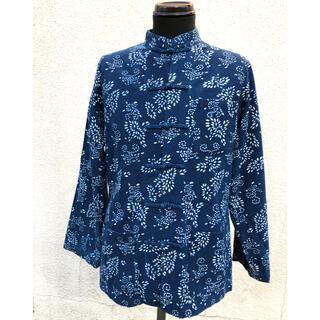 緊急本藍染 中国藍印喜花布館 チャイナ服 シャツ 中華服