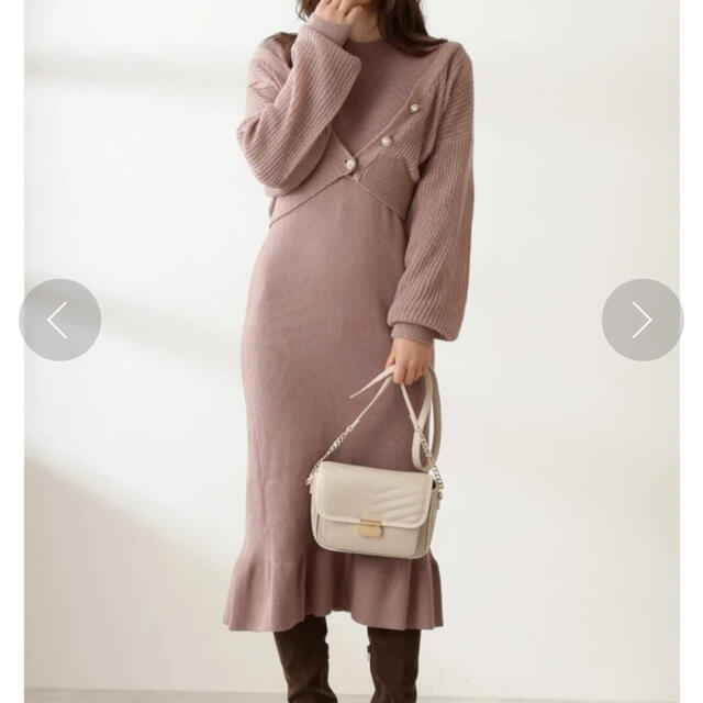 PROPORTION BODY DRESSING(プロポーションボディドレッシング)のシアーカーデ×リブニットワンピアンサンブル レディースのワンピース(ロングワンピース/マキシワンピース)の商品写真