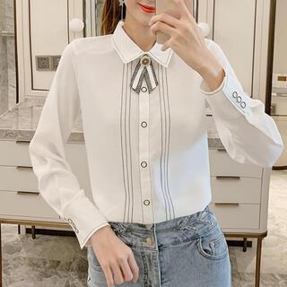 MERCURYDUO - ラインデザインレトロリボンシャツ(ホワイト)