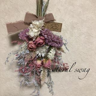 ♡専用No.209 white*pink ドライフラワースワッグ♡(ドライフラワー)