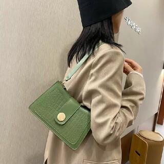 ザラ(ZARA)のレディース♡レザー  クロコ調 ハンドバッグ チェーン グリーン 韓国 バック(ハンドバッグ)