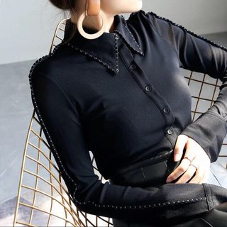 Ameri VINTAGE - HELROUS 新品未使用 シースルースリーブシルクシャツ
