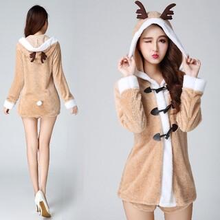 コスプレ トナカイ フード 可愛い コスチューム クリスマス 衣装 鹿 しか(衣装一式)