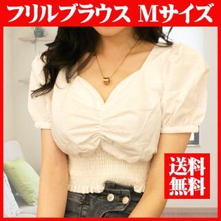 ブラウス フリルブラウス パフスリーブ Tシャツ 白 Lサイズ 半袖 韓国