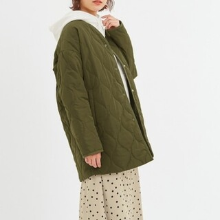 GU - GU◆中綿キルティングコート  XSサイズ カーキ◆ミディアム丈
