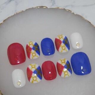 No.10 ジェルネイルチップ レッド&ブルー&ホワイト トリコロール柄ネイル