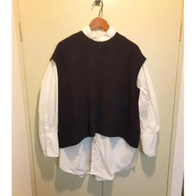 ENFOLD(エンフォルド)のenfoldエンフォルドショート丈フレアベストブラウス黒ブラック レディースのトップス(シャツ/ブラウス(半袖/袖なし))の商品写真