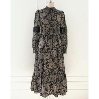snidel - Winter Floral Long-sleeve Dress