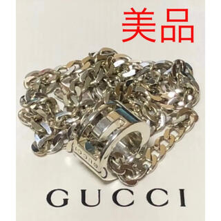 グッチ(Gucci)のGUCCI グッチ 正規品 G リング シルバー ネックレス 中古 美品(ネックレス)