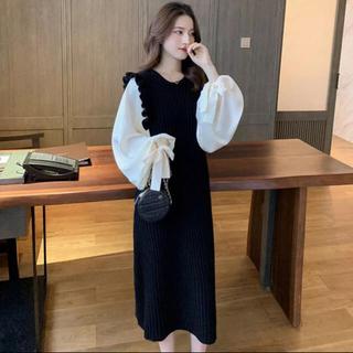 ニットワンピ 韓国ファッション ブラウス