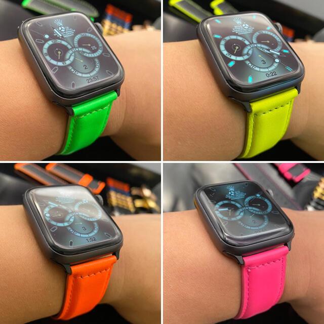 Apple Watch(アップルウォッチ)のアップルウォッチ用蛍光色◉本革レザーベルト◉バタフライバックル付き メンズの時計(レザーベルト)の商品写真