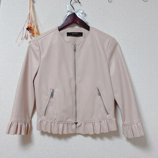 ZARA - zara フリルレザーライクジャケット