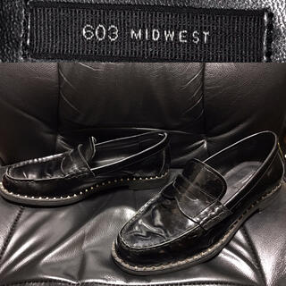 MIDWEST - MIDWEST送料込ミッドウエスト定価2万程エナメル革レザーローファー靴スタッズ