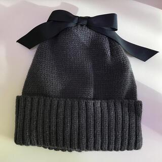 petit main - (試着のみタグ付き)petit main リボン付きニット帽
