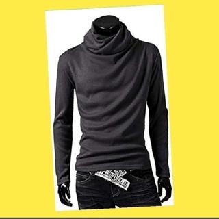 グレー XL アフガン タートルネック 長袖 Tシャツ カジュアル メンズ