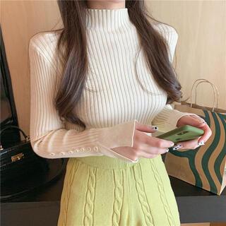 snidel - 袖カットタートルネックセーター(クリーム)