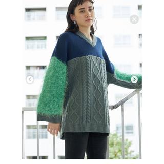パメオポーズ(PAMEO POSE)の未使用 PAMEO POSE Switching V-neck Sweater(ニット/セーター)