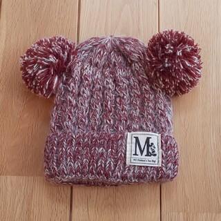 ボンボン耳つきミッキー風 ニット帽