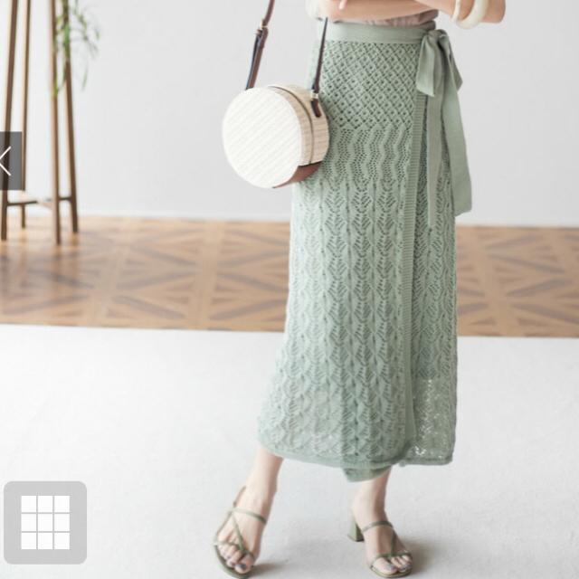 GRL(グレイル)の透かし編みニットラップスカート レディースのスカート(ロングスカート)の商品写真
