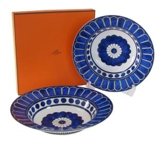 エルメス(Hermes)のエルメス ブルーダイユール パスタ深皿 ( 24㎝ ) × 2枚セット!(食器)