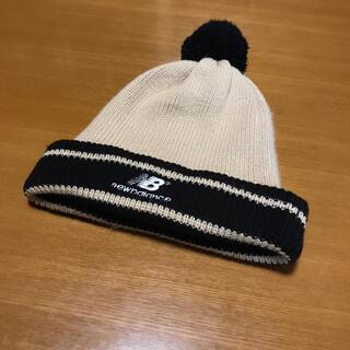 ニューバランス(New Balance)のニューバランス キッズ ニット帽(黒×ベージュ)フリーサイズ(帽子)